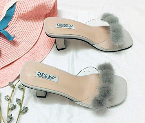 PBXP Pantofole popolari di cerimonia nuziale Decorazione artificiale della piuma Metà degli orecchini centrali del piede delle donne femminili del piede femminile Prime Day Size EU 35-39 , grey , 38