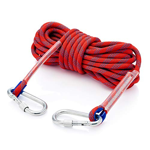 EXLR8 Climbing Rope – 10mm Climbing Rope 10M /32 FT Made with Premium-Grade Polyester – Heavy Duty Rope Perfect for Tree Climbing, Rock Climbing, and More – Maximum Weight 2465lbs (1200kgs) - Red ()