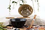 Quality Japanese Rice or Noodle Bowls 6'' Diameter Multi Purpose Tayo Bowl Set of 2 with Chopsticks Gift Set Black and Brown Made in Japan (Cherry Blossom)