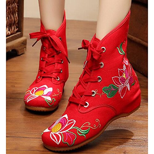 HSXZ Women's Shoes Canvas Spring Fall Comfort Fashion Boots Boots For Casual Red Black White Black zAq2OB