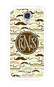 linJUN FENGiZERCASE Monogram Personalized Colorful Mustaches Pattern RUBBER Samsung Galaxy S4 Case - Fits Samsung Galaxy S4 T-Mobile, AT&T, Sprint, Verizon and International (White)