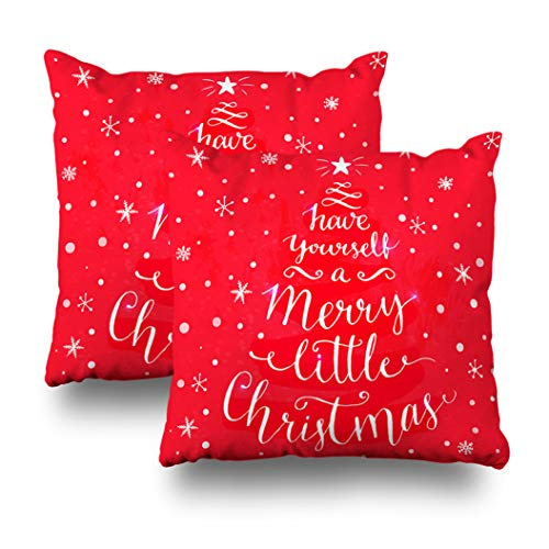 Geericy Set of 2 Decorative Throw Pillow Covers Merry Little Christmas Whimsical Modern Calligraphy Card with Spruce Shape Cushion Cover 18X18 Inch for Bedroom Sofa ()