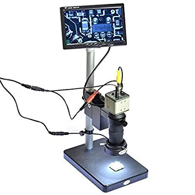 "800TVL CCD 100X Microscope Industrial Camera C-MOUNT Lens BNC Output 40 LED Ring Light 7"" LCD Monitor"
