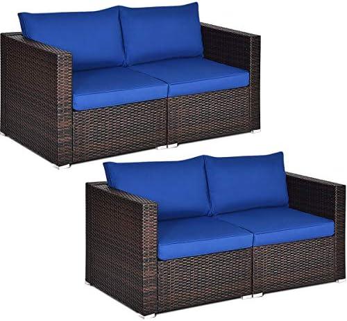 Tangkula 4 PCS Outdoor Wicker Corner Sofa Set