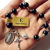 elegantmedical Handmade Silver Wire Wrap Blank Pearl Bead St. Benedict Rosary Bracelet Cross Catholic