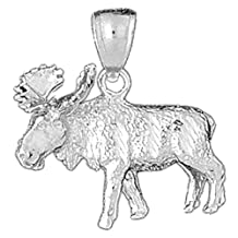 18K White Gold 25mm Moose Charm Pendant