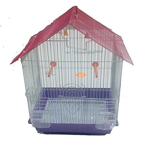 Jaula Tejado con accesorios para pájaros Canarios Periquitos de ...