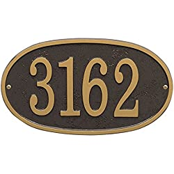 Personalized Cast Metal Oval House Number Custom Address Plaque Sign - Bronze/Gold