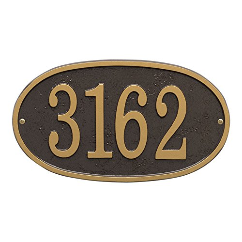 Whitehall Personalized Cast Metal Address Plaque - Custom House Number Sign - Oval (12'' x 6.75'') Bronze with Gold Numbers by Whitehall