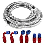 12Ft Universal 6AN Braided Oil Fuel Line Stainless Steel Fuel Hose W/ 6 Pcs AN6 Hose Fitting Kit