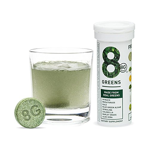 Price comparison product image 8Greens Effervescent Super Greens Dietary Supplement - 8 Essential Healthy Real Greens in 1-10 Tablets (1 Tube)