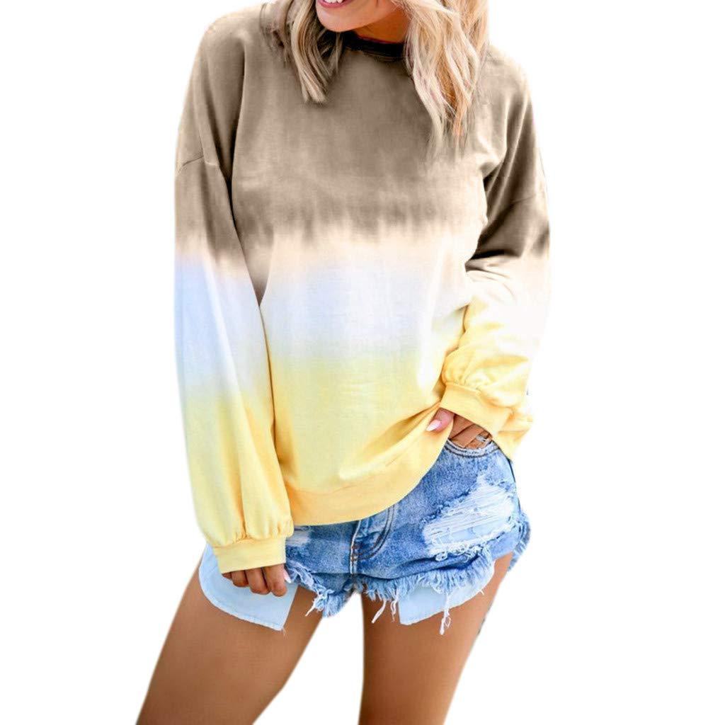Shusuen Women's Casual T-Shirt Long Sleeve Cowl Neck Tunic Sweatshirt Dyed Tied Tops Blouse Khaki by Shusuen_Clothes