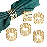 Napkin Rings Pack,Derker Set of 6 Hollow Out Round Napkin Rings for for Wedding, Party, Holiday, Dinner (Gold)