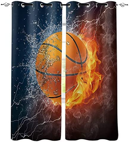 Edwiinsa Water Fire Basketball Pattern Kitchen Blackout Curtains Window Drapes Treatment