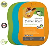 Antibacterial Cutting Board Set - 100% 1 Minute Microwave Antibacterial Sterilization - Flexible & Dishwasher Safe Chopping Mats - Set of 3 - by Hashi