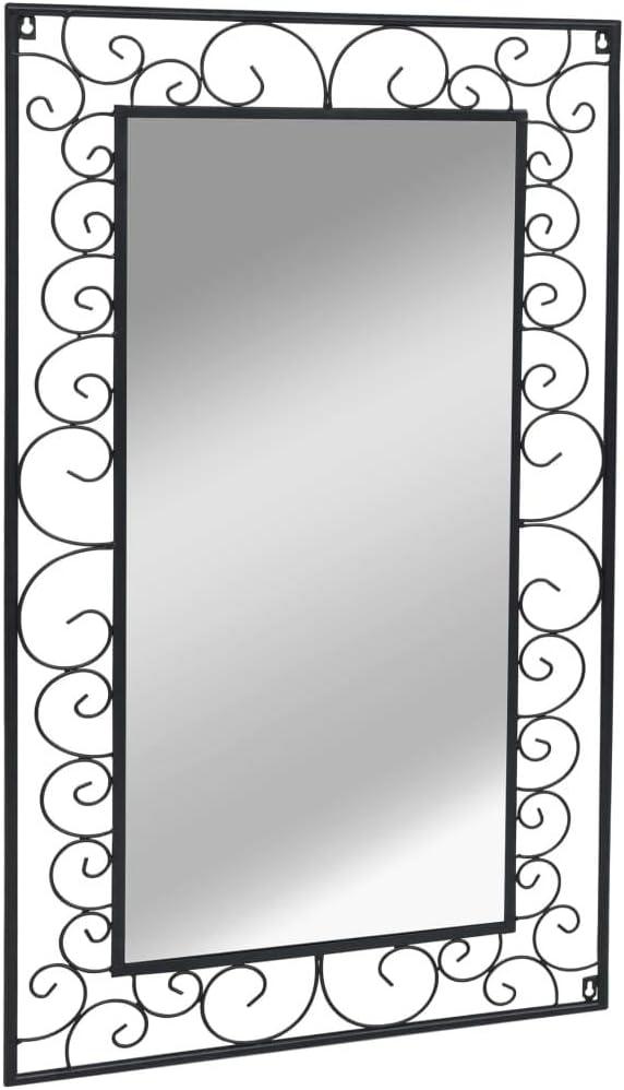Festnight Miroir Mural Arqu/é Grand Miroir pour Salle de Bain Vestiaire ou Chambre /à Coucher 50 x 80 cm Noir
