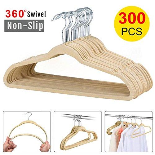 go2buy Standard Velvet Suit Hangers Non slip Clothes hangers (300pcs, Beige) by go2buy