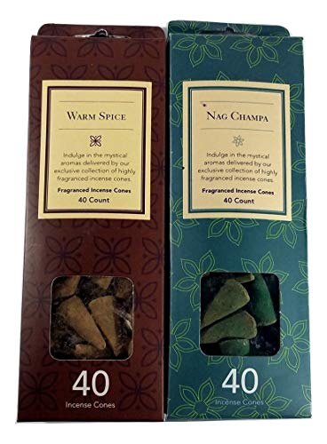 Backwoos Lighting LLC Flora Classique Warm Spice and Nag Champa Incense Cones 40 ea. 80 Incense Cone 2 Pack