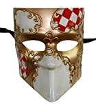 KAYSO INC Full Face Checker Bauta Venetian Jester Masquerade Mask Unisex (Red)
