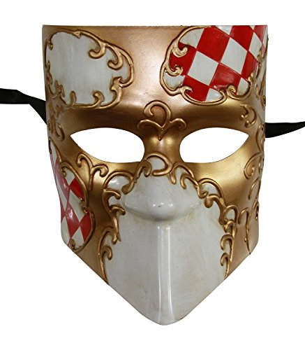 KAYSO INC Full Face Checker Bauta Venetian Jester Masquerade Mask Unisex (Red) by KAYSO