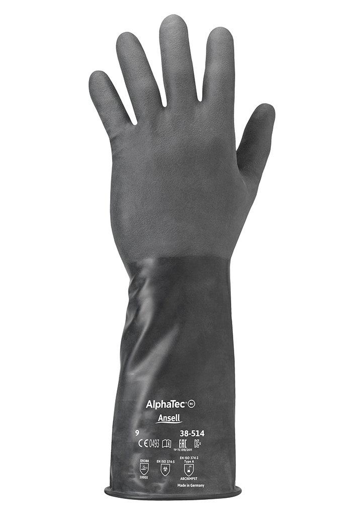 Ansell ChemTek 38-514 Butyl//Viton Handschuhe 1 Paar pro Beutel Chemikalien- und Fl/üssigkeitsschutz Gr/ö/ße 7 Schwarz