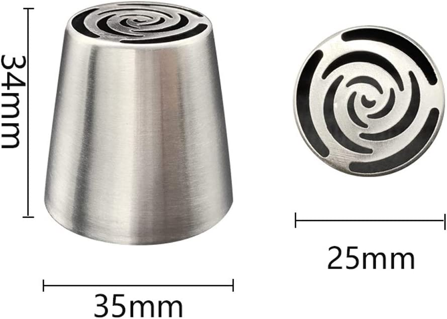 7pcs Russian Piping Tips 304 Stainless Steel Large Size Russia Icing Piping Nozzles Pastry Tips Cake Sugarcraft Decorating Tool Set Cupcake Decorator Icing Dispenser