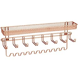 InterDesign Classico Fashion Jewelry Organizer with Storage Hooks for Rings, Earrings, Bracelets, Necklaces - Wall Mount, Rose Gold