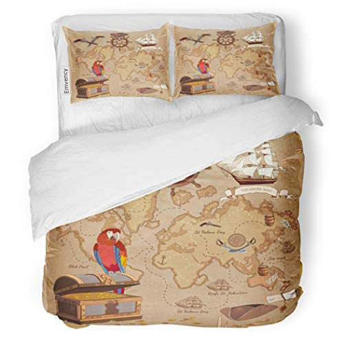 - SanChic Duvet Cover Set Old Pirate Treasure Map Chest Parrot Steering Wheel Decorative Bedding Set with Pillow Case Twin Size