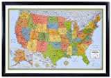 32x50 Rand McNally United States USA Wall Map Framed Edition