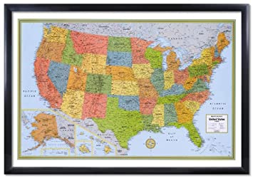 Amazoncom X Rand McNally United States USA Wall Map Framed - Rand mcnally us wall map