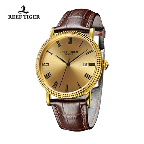 Reef Tiger Designer Dress Watches for Men Yellow Gold Case Leather Strap Date Automatic Watch RGA163 by REEF TIGER (Image #1)