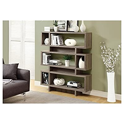 Monarch Reclaimed-Look Modern Bookcase, 55-Inch, Dark Taupe - Materials: Wood Style: Modern Color/Finish: Taupe - living-room-furniture, living-room, bookcases-bookshelves - 51KNMEgIZrL. SS400  -