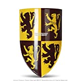 Medieval Gears Brand Scottish Rampant Lion Medieval Knight Heater Shield 18G Steel Grip Leather Strap