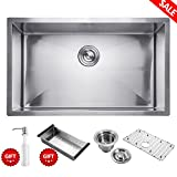 30 Inch Kitchen Sink Commercial Undermount Single Bowl Stainless Steel Outer Lip Thickness 11 Gauge Basin Thickness 18 Gauge