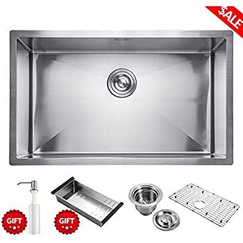 commercial 30 inch 10 inch deep stainless steel kitchen sink handmade drop in undermount single bowl krizto 30 inch undermount single bowl 16 gauge stainless steel      rh   amazon com