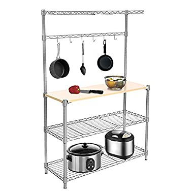 Gracelove 4-Tier Wire Shelving Rack Wood Board Shelf Unit For Kitchen Heavy Duty Storage Supreme Baker's Rack,Silver