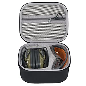 Hard Travel Case for Howard Leight Impact Sport OD Electric Earmuff and Honeywell Genesis Clear Lens Shooting Glasses by co2CREA
