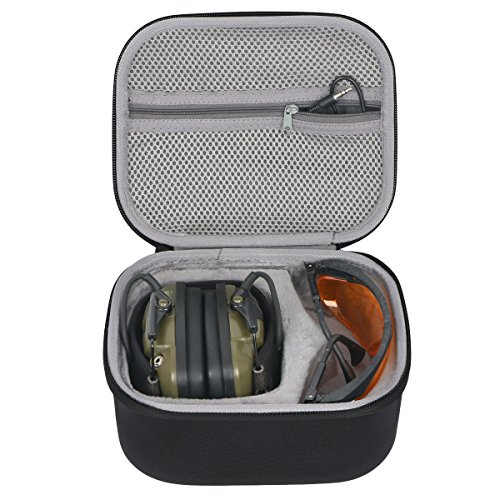 Shooting Eye Protection - co2crea Hard Travel Case for Howard Leight Impact Sport OD Electric Earmuff and Genesis Sharp-Shooter Safety Eyewear Glasses