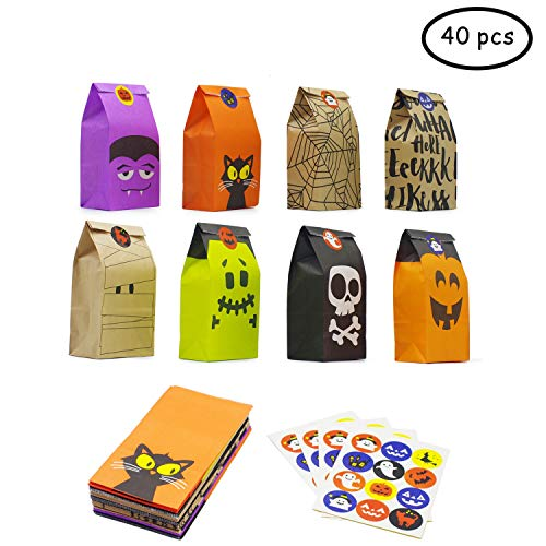 Bravo Sport Halloween Trick or Treat Goody Gags Paper Gift Bags, 8 Design, 40 pcs Party Favor Candy Bags]()