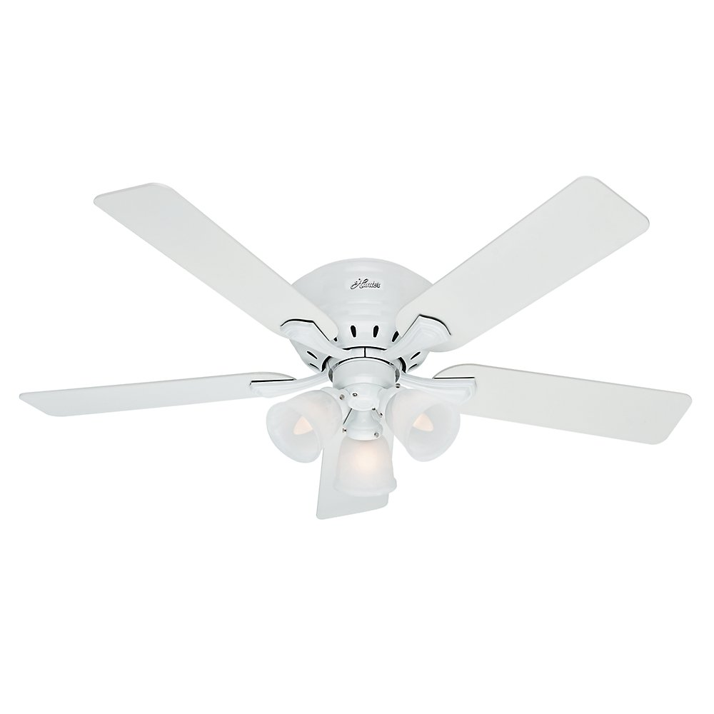 Hunter Indoor Low Profile Ceiling Fan, with pull chain control – Reinert 52 inch, White, 53011