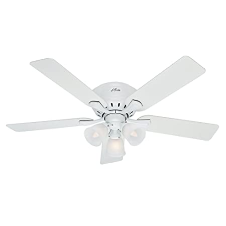 Hunter 53011, Reinert Ceiling Fan with Light, 52 Span, 5 Blades, Snow White