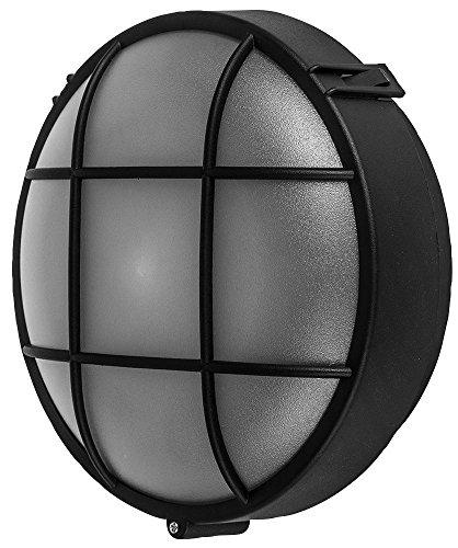Kenable Wall-Mounted Lamp Outdoor Round Bulkhead E27 Light IP44 Black