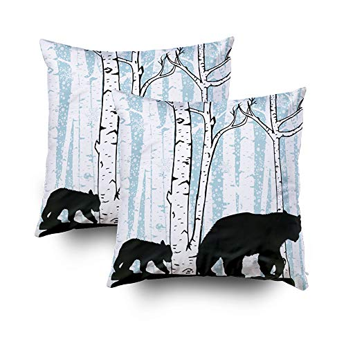 Pillowcase Printed Forest Wake - Capsceoll Christmas 2PCS Bear cub Deer Birch Trees Decorative Throw Pillow Case 18X18Inch,Home Decoration Pillowcase Zippered Pillow Covers Cushion Cover with Words for Book Lover Worm Sofa Couch