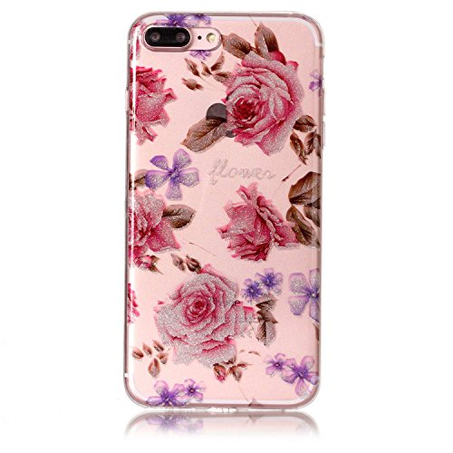 """Hülle iPhone 7 Plus / iPhone 8 Plus , LH Pfingstrose Blumen TPU Weich Muschel Tasche Schutzhülle Silikon Handyhülle Schale Cover Case Gehäuse für Apple iPhone 7 Plus / iPhone 8 Plus 5.5"""""""