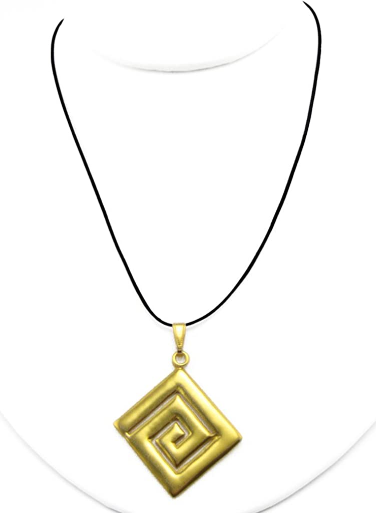 Historical Jewelry Collection 24k Gold Plated Pre-Columbian Zenu Square Long Life Pendant Necklace Across The Puddle