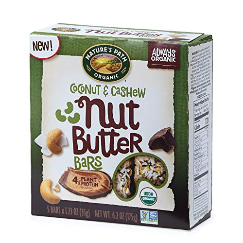 Nature's Path Coconut & Cashew Nut Butter Bars, Healthy, Organic, 6.2-Ounce Box (Pack of 6)