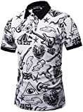 Pizoff Mens Boys Hipster Short Sleeve All Over 3D Contrast Black-White Graphic Print Button Down Breathable Slim Fit Polo-Shirt Y1790-02-M