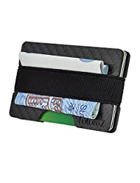 Minimalist Front Pocket Wallet for Men – All in One RFID Carbon Fiber Wallet, Slim Card Holder and Money Clip – Protect Your Identity from Thieves - Perfect Gift for Men - Gift Boxed by FuturoZ