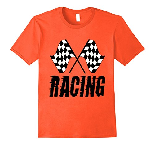 Racing Flags Shirt (Mens Race Flags RACING! Men Women Children Gift Tee Shirt Large Orange)