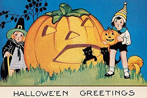 A vintage Halloween postcard featuring a giant Jack-o-lantern two black cats and a boy and girl Poster Print by unknown (24 x 36) -